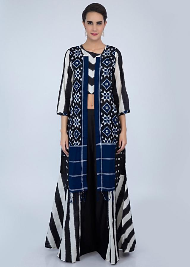 Black and white shaded three piece cotton palazzo set with printed butti and stripes only on Kalki