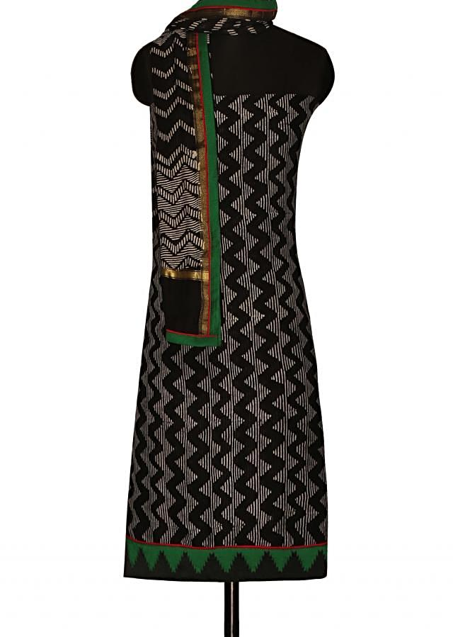 Black and white unstitched suit with zig zag printed dupatta only on Kalki