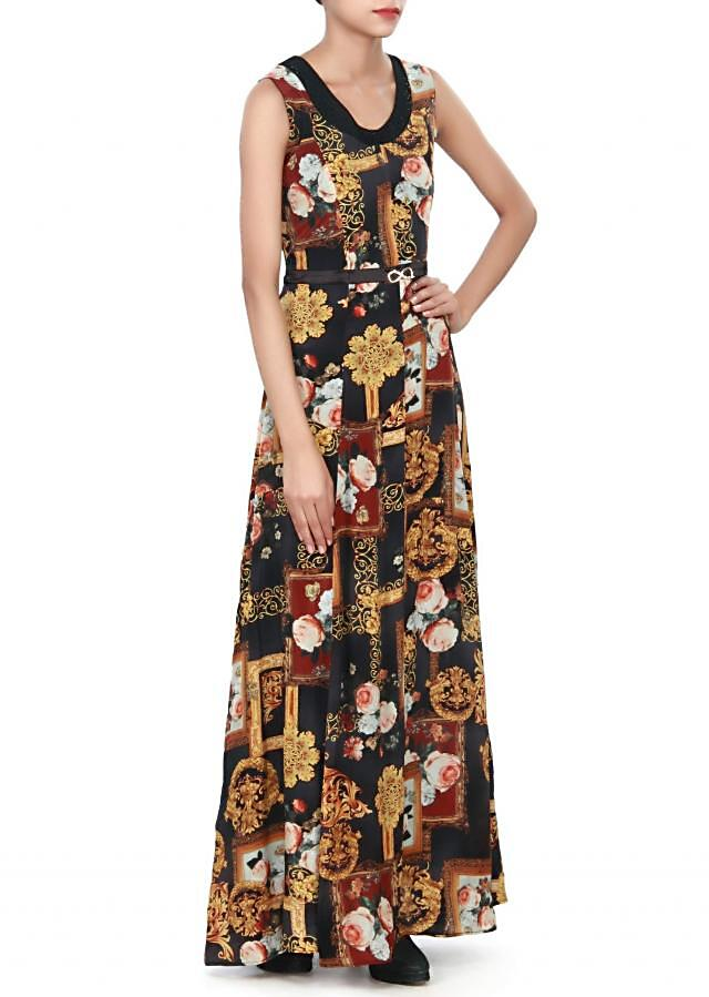 Black and yellow kurti enhanced in floral pint only on Kalki