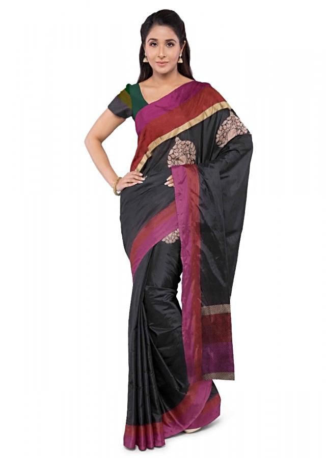 Black Banarasi Saree With Matching Blouse Piece Online - Kalki Fashion