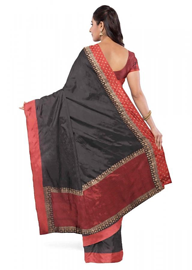 Black Banarasi Saree With Red Blouse Piece Online - Kalki Fashion