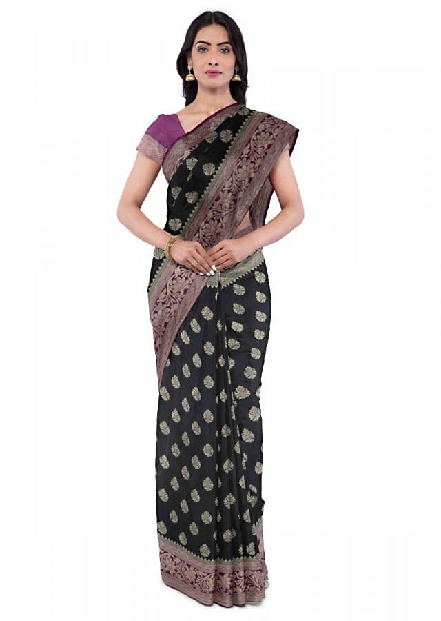 Black Banarasi Silk Saree With Purple Blouse Piece Online - Kalki Fashion