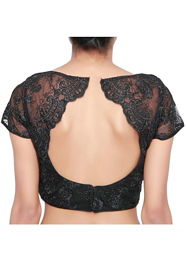 Black blouse enhanced in resham and zari embroidery only on Kalki