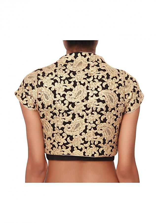 Black blouse, with gold jacket formal look