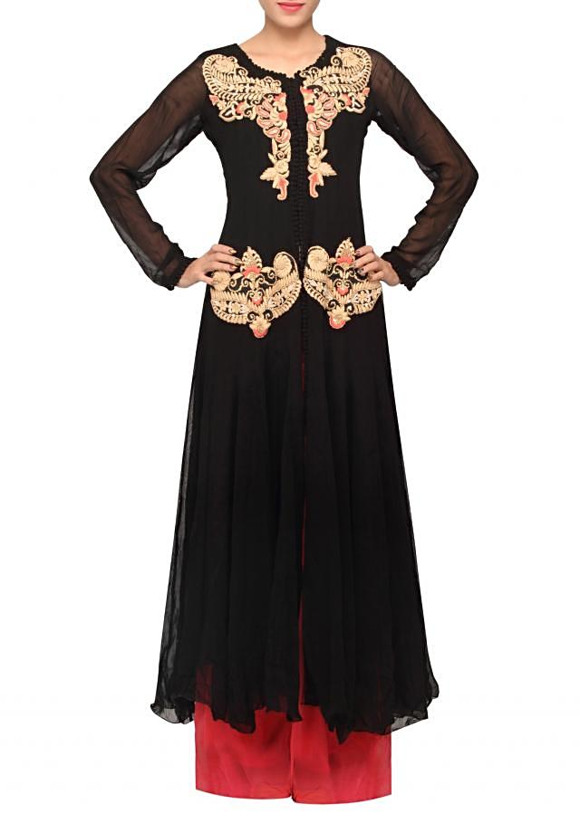 Black coloured french knot embroidery salwar suit with dupatta only on Kalki