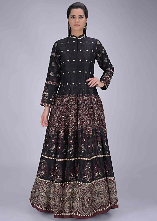 Black Anarkali Suit In Cotton With Patola Print Online - Kalki Fashion