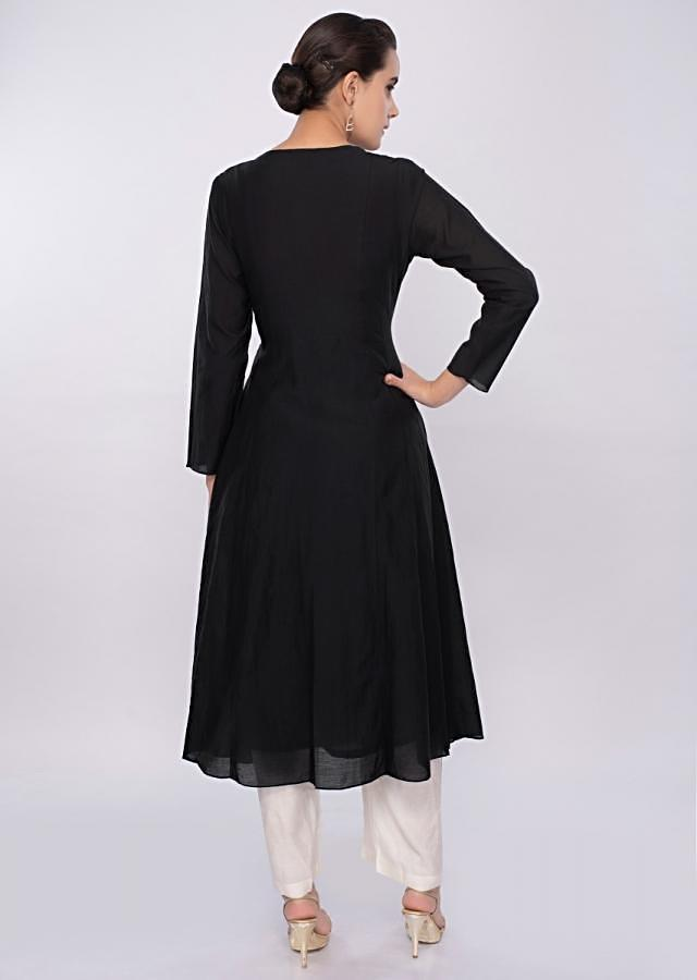 Black cotton kurti adorn with sequins work only on Kalki