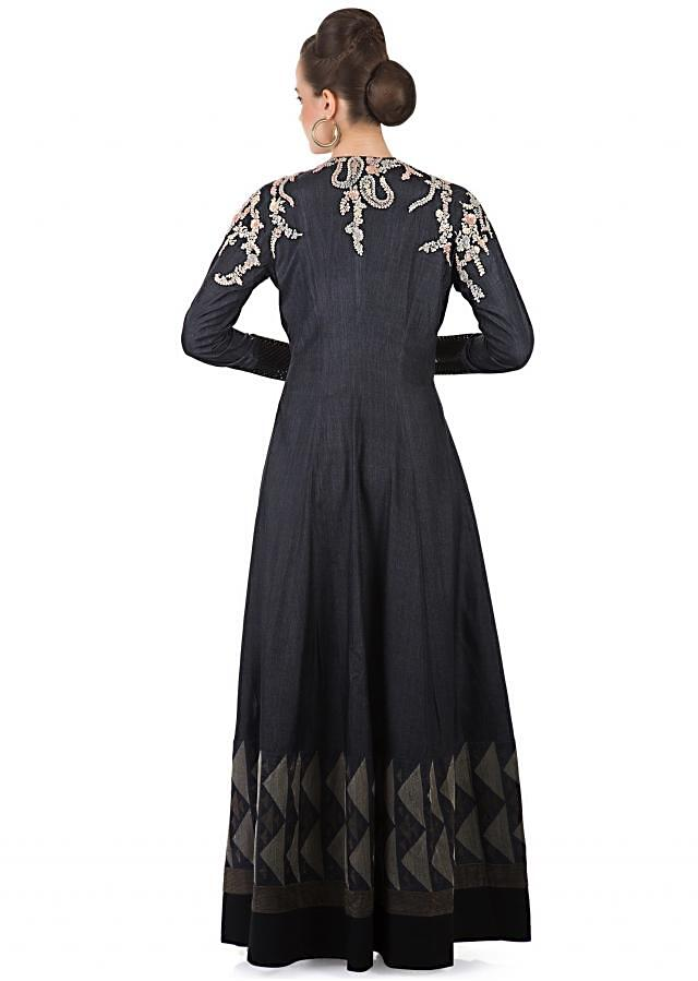 Black Cotton Pant and Bodice with Cotton Silk Long Jacket Featuring Thread Work only on Kalki
