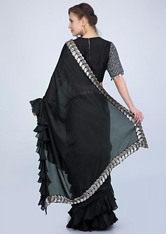 Black Saree In Cotton With Frilled Hem And Pallu Paired With Grey Jaal Embroidered Blouse Online - Kalki Fashion
