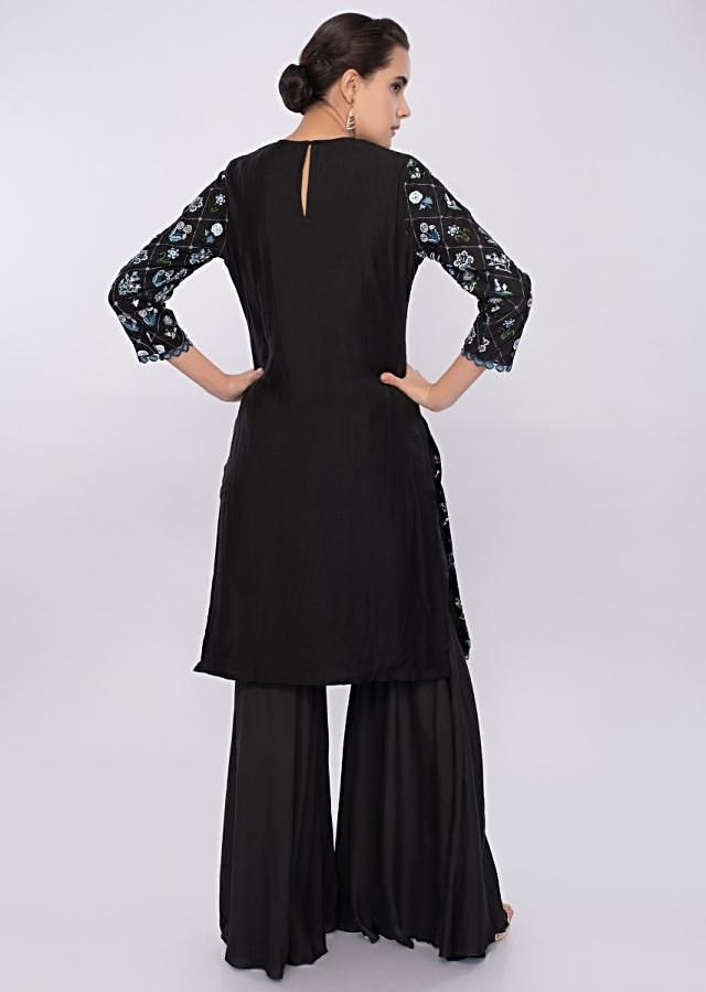 Black Sharara Suit In Cotton With Floral Resham Embroidery Online - Kalki Fashion