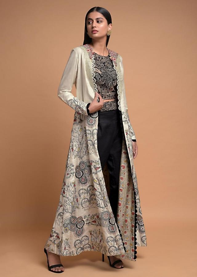 Black Crop Top Suit With Embroidered Pearl White Jacket Online - Kalki Fashion