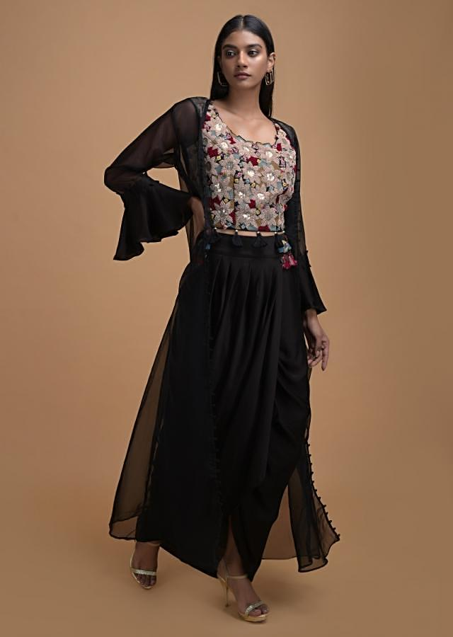 Black Dhoti Suit With Embellished Blouse And Ruffled Sleeved Jacket Online - Kalki Fashion