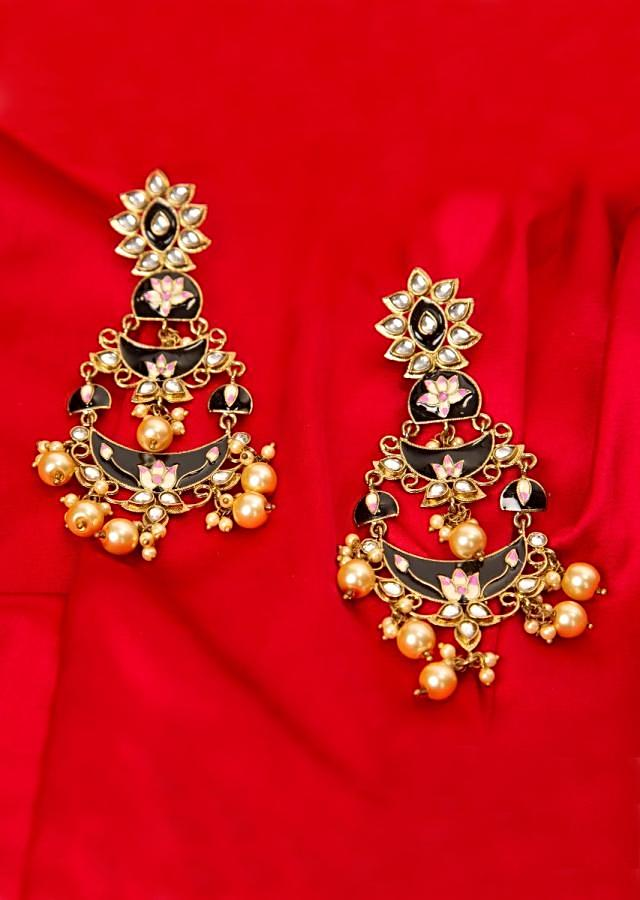 Black double layered chandbali earring with meenakari work