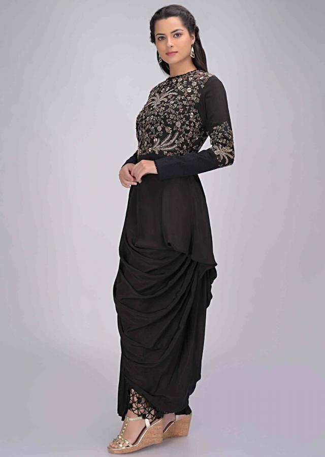Black Tunic In Embroidered Crepe With Fancy Cowl Drape Online - Kalki Fashion