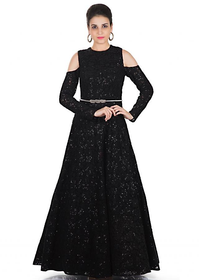 Black Fancy Fabric Gown Enhanced by Thread and Tikki Work Only on Kalki
