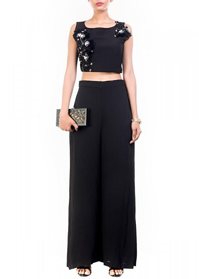 Black Feather Crop Top Palazzo Set Online - Kalki Fashion