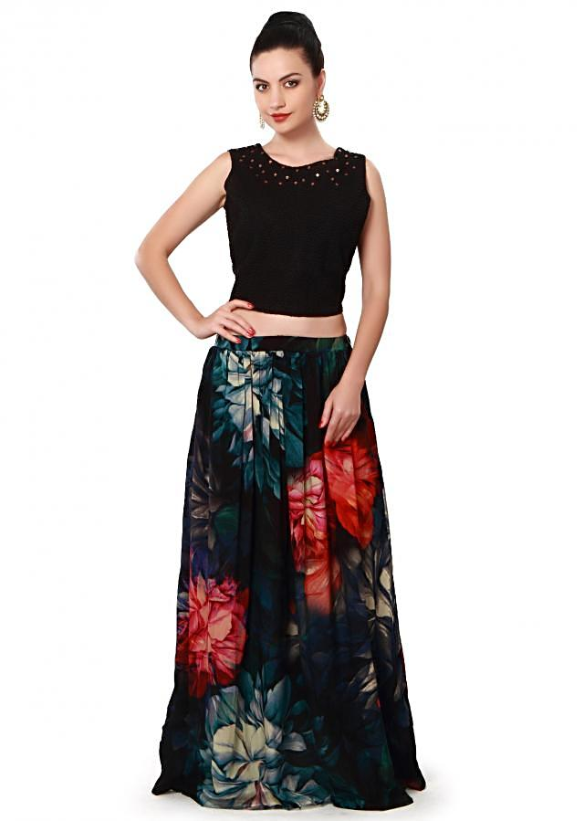 Black floral skirt matched with embroidered crop top only on Kalki