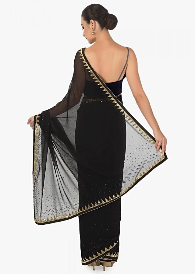 Black georgette  cut dana silk saree only on kalki