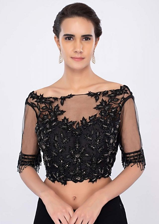 Black georgette draped saree with net embroidered blouse only on kalki