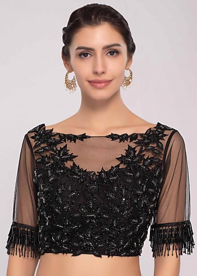 Black Ready Pleated Saree In Georgette With Cut Dana Embroiderd Net Blouse Online - Kalki Fashion