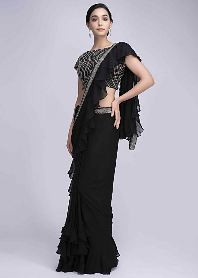 Black Saree In Georgette With Frilled Hem And Pallo Online - Kalki Fashion