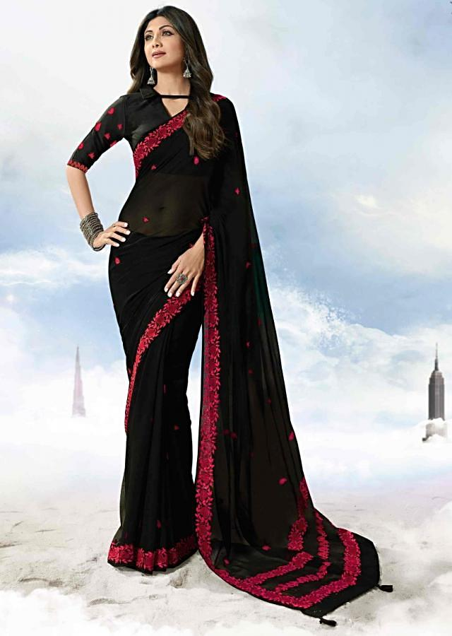 Black Saree In Georgette With Red Thread Embroidery Online - Kalki Fashion