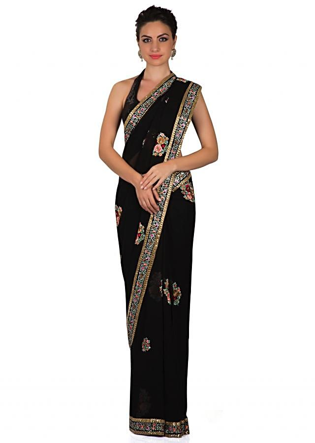 Black georgette saree with resham embroidered butti only on Kalki