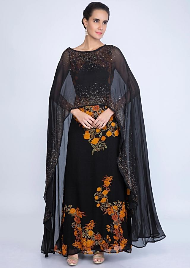 Black georgette tunic dress with attached cape only on kalki