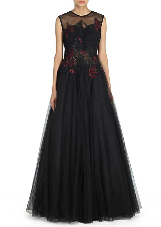 Black gown embellished in resham and zari only on Kalki