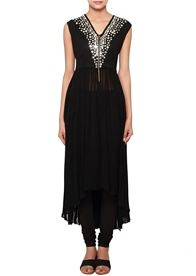 Black high-low georgette kurti embellished in mirror only on Kalki
