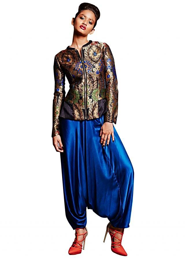 Black jacket in brocade silk with aladdin pants only on Kalki