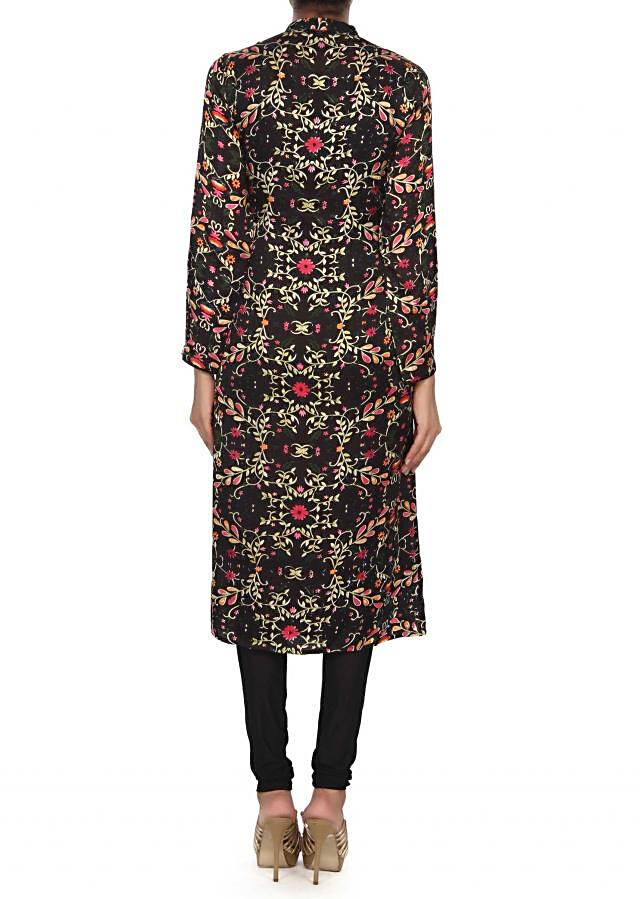 Black kurti adorn in kundan and floral print only on Kalki