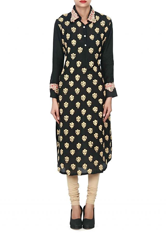 Black kurti adorn in thread and sequin butti only on Kalki
