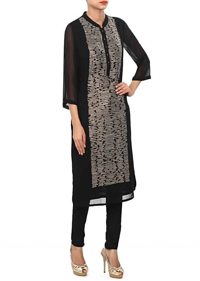 Black kurti embellished in sequin work only on Kalki