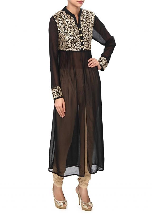 Black kurti enahnced in thread and sequin bodice only on Kalki