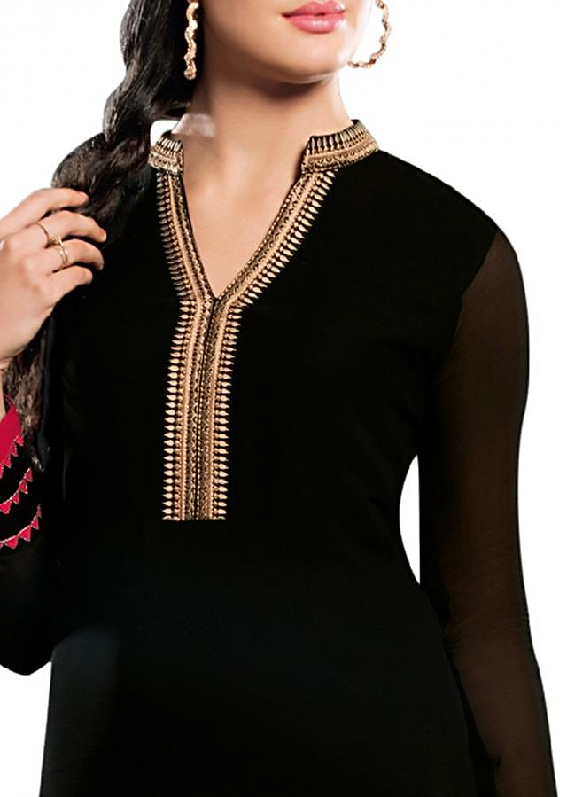 Black kurti enhanced in resham embroidery