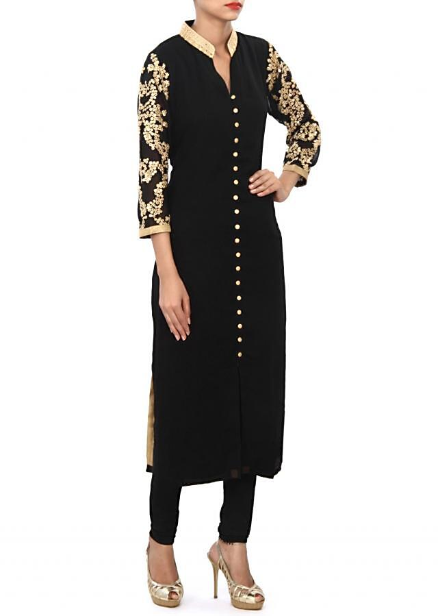 Black kurti features with embellished collar and sleeve only on Kalki