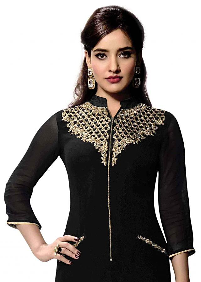Black kurti features with embroidered neckline only on Kalki