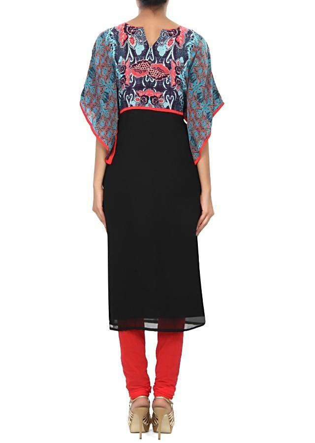 Black kurti featuring with digital printed yoke only on Kalki