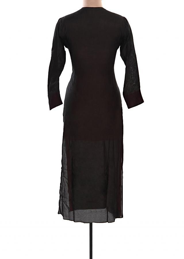 Black kurti featuring with floral motif embroidery only on Kalki
