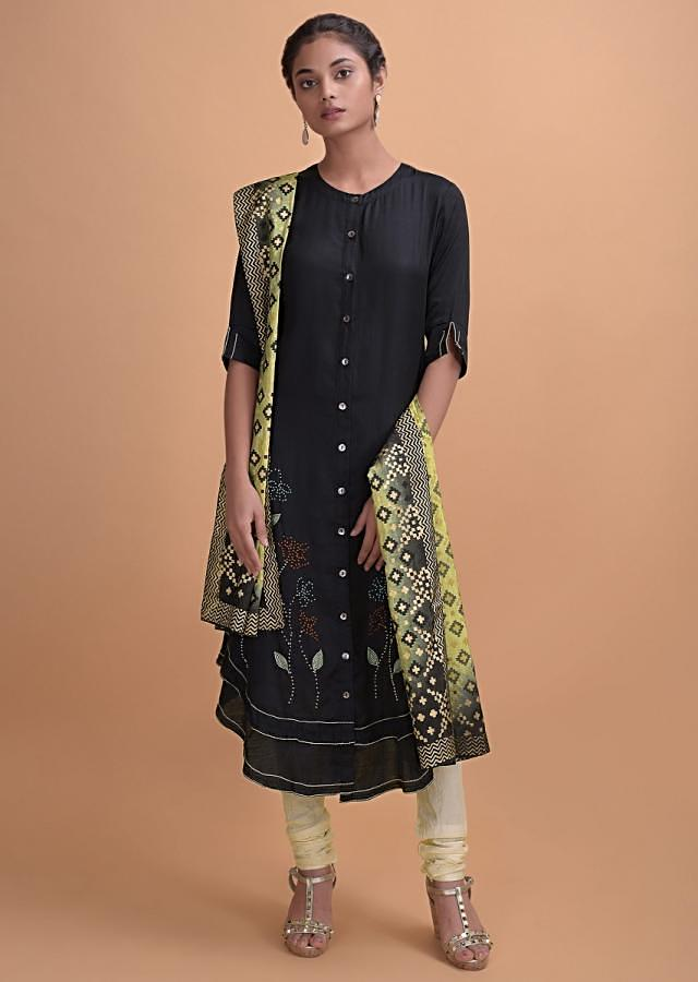 Black Kurti In Crepe With Thread Embroidery And Patola Printed Dupatta Online - Kalki Fashion