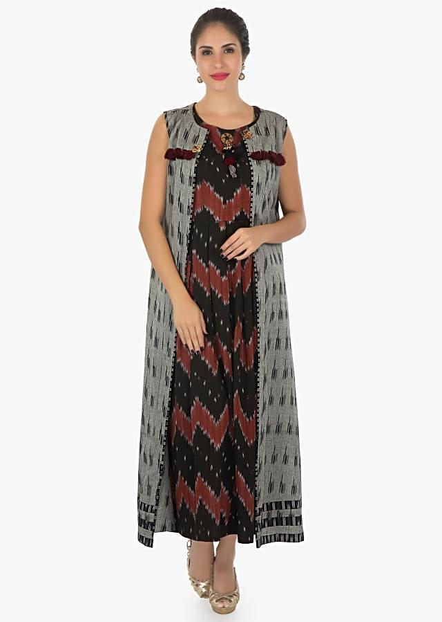 Black kurti in ikkat print  matched with a grey jacket adorn with fancy tassel only on kalki