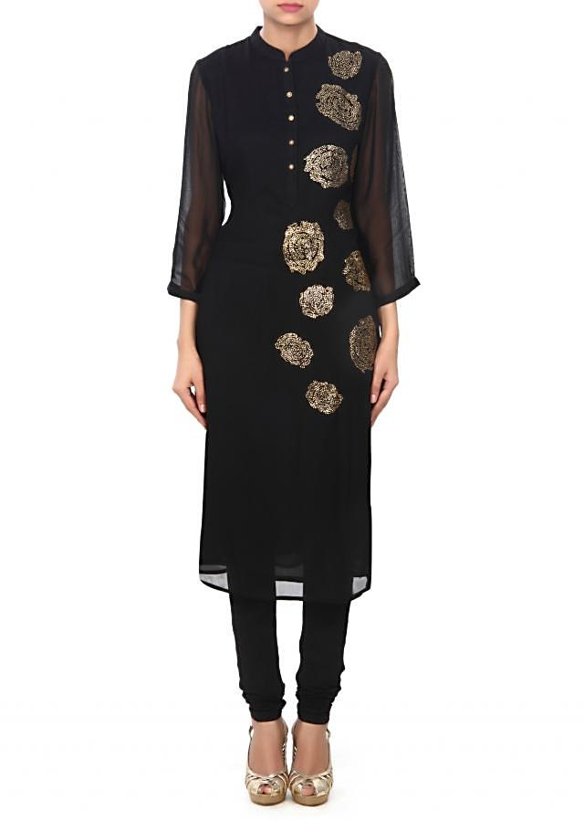 Black kurti in kundan embroidery only on Kalki