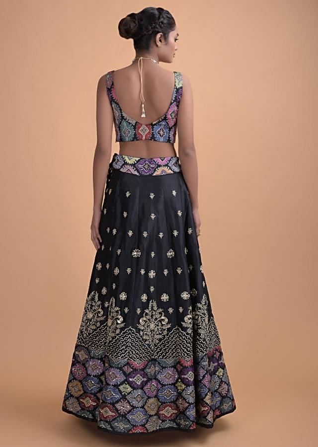 Black Lehenga In Silk With Hand Embroidered Buttis In Floral And Tribal Motifs Online - Kalki Fashion