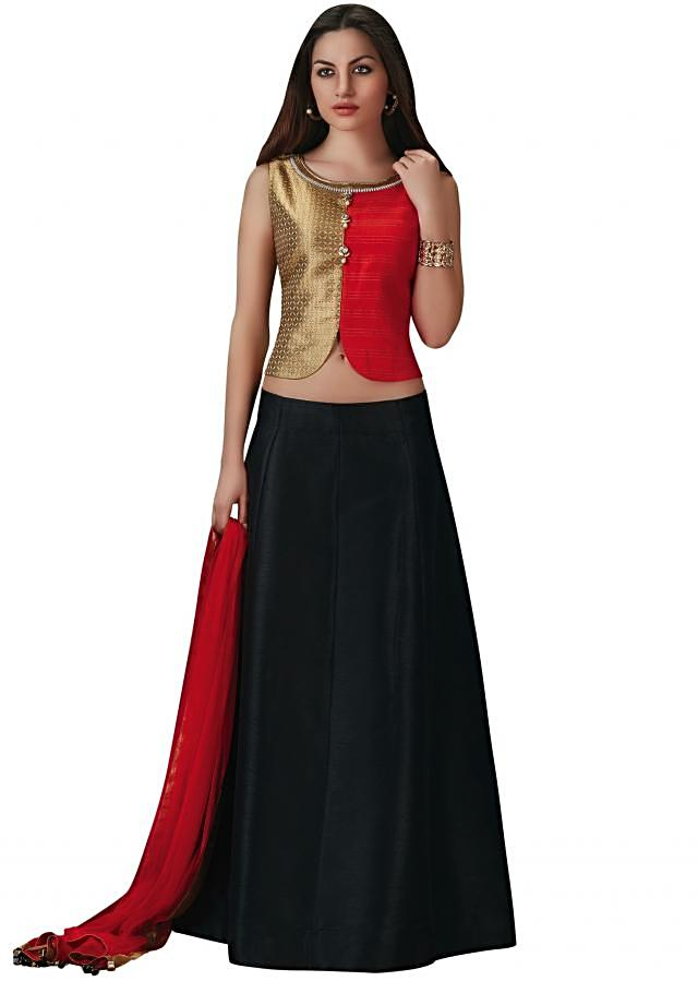 Black lehenga with cream and orange blouse in silk and brocade