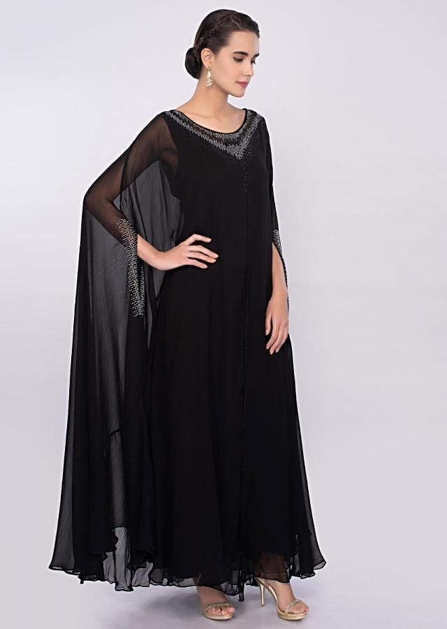 Black long tunic dress with additional fancy kaftan only on Kalki