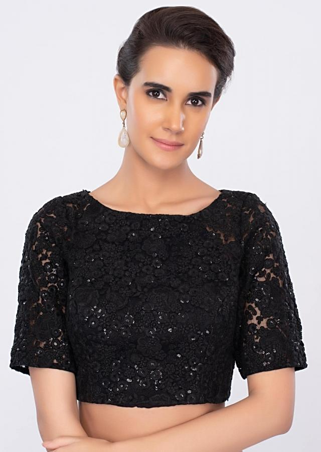 Black net blouse in floral jaal embroidery only on kalki