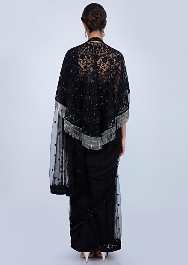 Black Saree In Self Embroidered Net With Tasseled Cape Online - Kalki Fashion