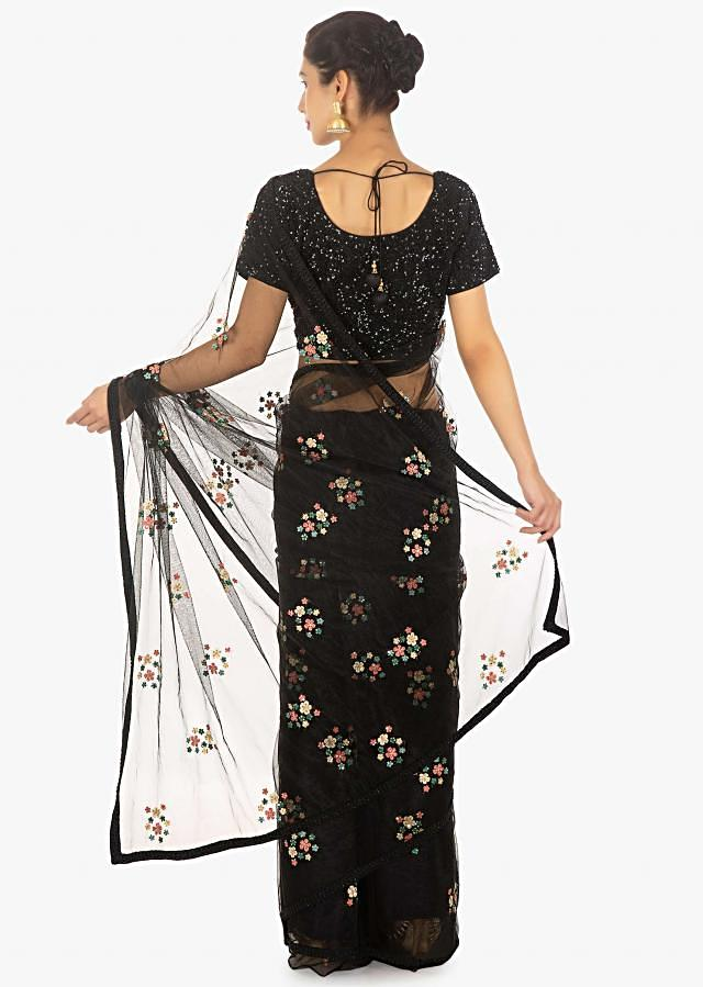 Black Saree In Net With Thread Embroidery Paired With A Shimmery Sequins Blouse Online - Kalki Fashion