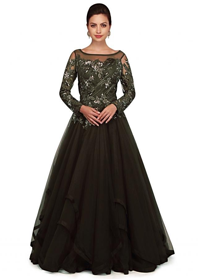 Black olive gown with embroidered bodice and fancy hem line only on Kalki